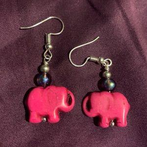 Cute hot pink howlite elephant hook earrings